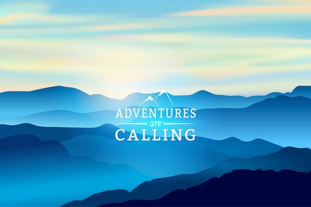 Amanecer azul en el paisaje de montaña con frase