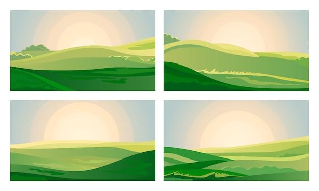 Amanecer de campo de paisaje verde de verano sobre colinas con hierba.