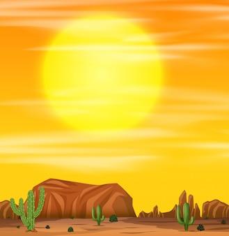 Amanecer en una escena del desierto