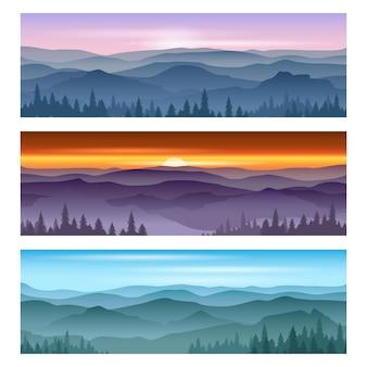 Amanecer en las montañas y al atardecer de las montañas. paisaje de fondos vectoriales, puesta de sol de naturaleza, ilustración de montaña de amanecer al aire libre