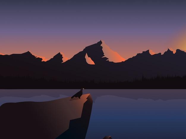 Amanecer paisaje río montañas ilustración