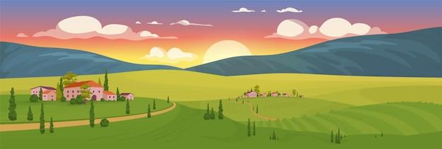 Amanecer de verano en la ilustración de color plano de pueblo
