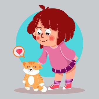 Amante del gato linda chica con ilustración de dibujos animados de gato