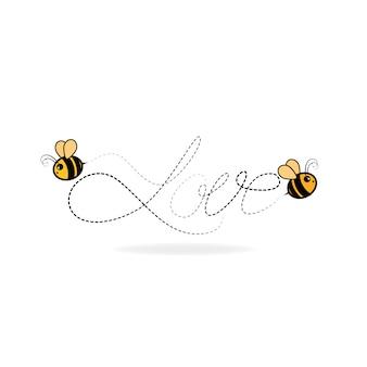 Los amantes de las abejas escriben la palabra amor. ilustración vectorial