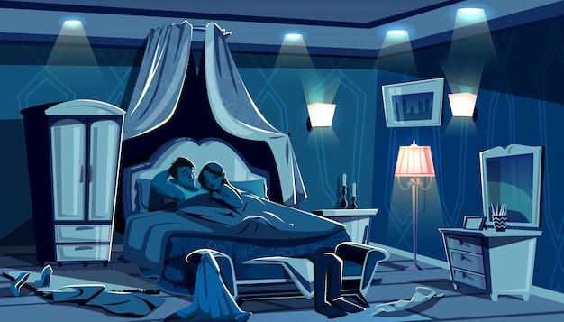Los amantes duermen en la cama ilustración de un dormitorio nocturno con ropa desparramada a toda prisa.
