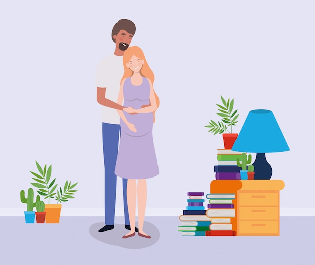 Amantes embarazo pareja en la casa