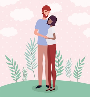 Amantes interraciales pareja de personajes de embarazo en el paisaje.