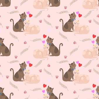 Amantes lindos del gato con el modelo inconsútil de la forma del corazón.