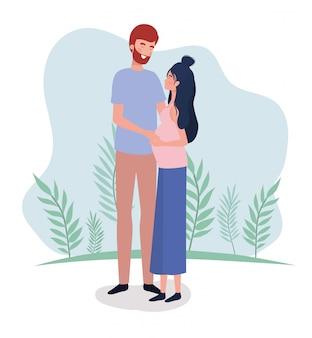 Amantes lindos pareja embarazo personajes en el paisaje