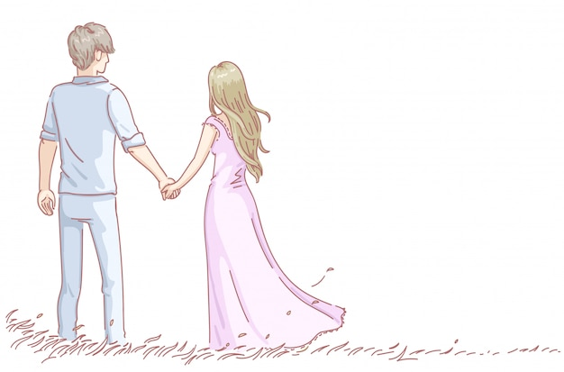 Los amantes de la pareja de enamorados tienen citas románticas. vista trasera del hombre y la mujer. día de san valentín.