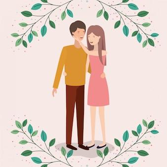 Amantes pareja con hojas corona personajes