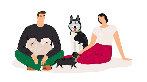 Amantes de los perros. pareja con mascotas. personajes de hombre y perros mujer plana, ilustración vectorial
