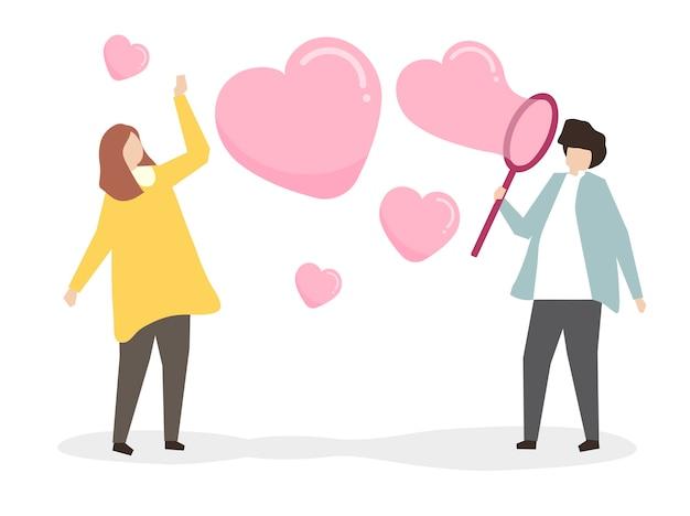Amantes que soplan burbujas de jabón del corazón