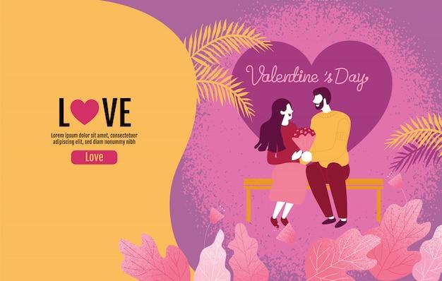 Amantes que sostienen las flores en una atmósfera de amor, el día de san valentín, amor, ilustración vectorial.
