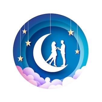 Amantes románticos blancos en la ilustración de papercut de luna