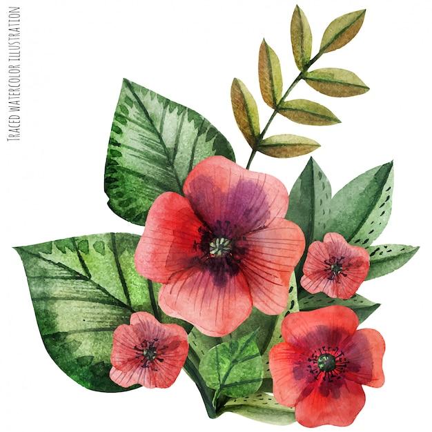 Amapola de hojas pintadas a mano acuarela boutonniere