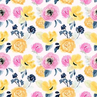 Amarillo rosa floral acuarela de patrones sin fisuras