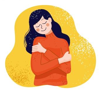 Ámate a ti mismo concepto, mujer abrazándose a sí misma, ilustración