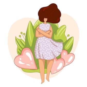 Ámate a ti mismo y cuídate de concepto. chica, abrazando a sí misma con gran corazón de amor. girl healthcare ilustración de cuidado de la piel sobre tómese un tiempo para usted