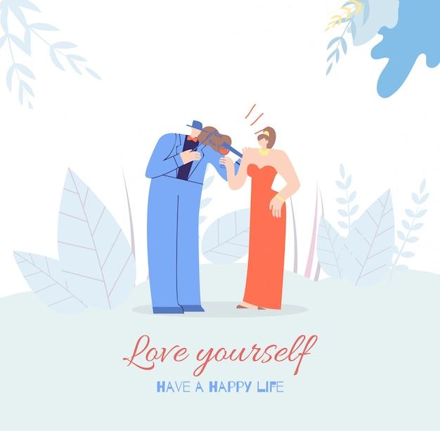 Amate a ti mismo motivación póster tarjeta vida feliz