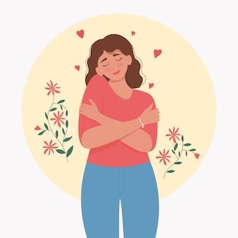 Ámate a tí mismo. mujer joven abrazándose a sí mismo, feliz, positivo y sonriente. linda ilustración en estilo plano