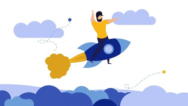 La ambición del negocio sube el hombre del cielo de la motivación del éxito. empresario de cohete espacial