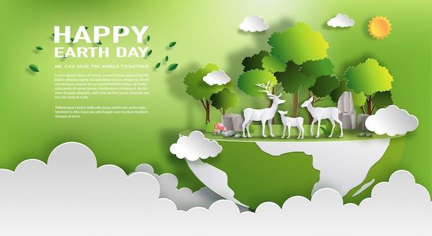 Ambiente mundial y concepto del día de la tierra.
