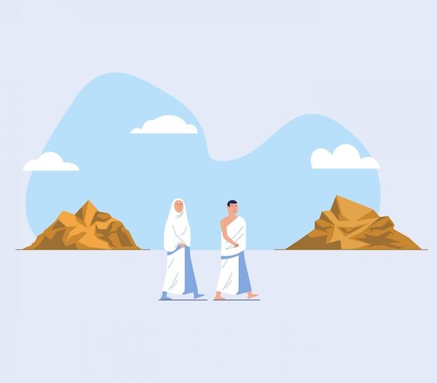 Ambos hajj peregrinaje paseo entre safaa y marwah hill