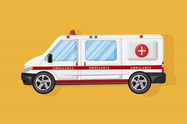 Ambulancia coche estilo plano. vehículo de servicio médico de emergencia. transporte hospitalario