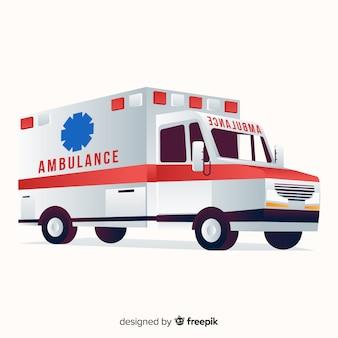 Ambulancia en diseño flat