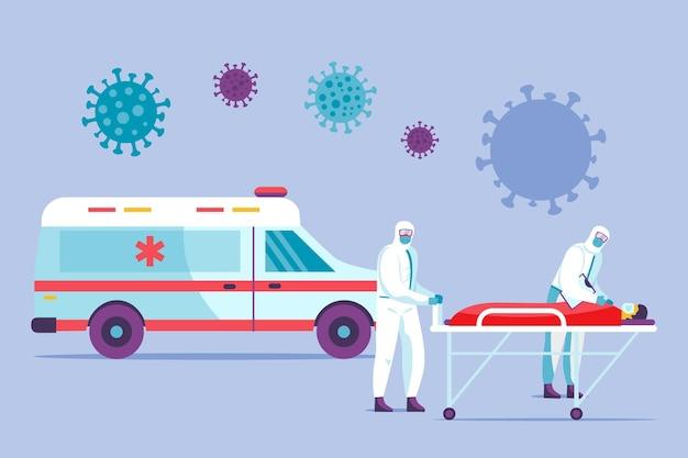 Ambulancia de emergencia ilustrada con médicos y pacientes.