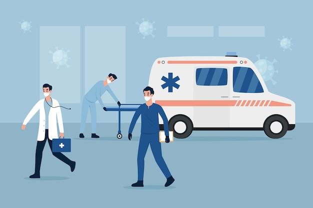 Ambulancia de emergencia y médicos con máscara
