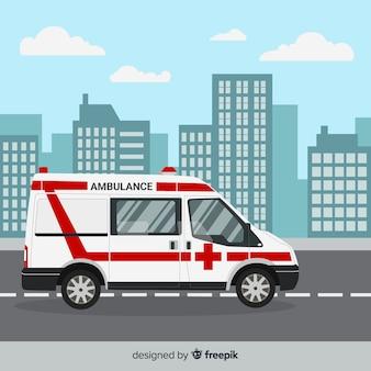 Ambulancia en estilo flat