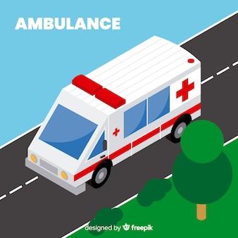 Ambulancia en estilo isométrico