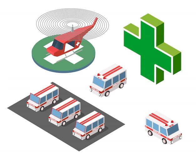 Ambulancia en helicóptero y coche.