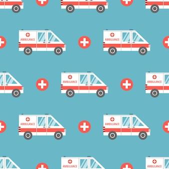 Ambulancia médica en estilo de dibujos animados plana. patrón transparente de vector.