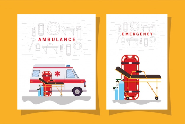 Ambulancia paramédico vista lateral del coche cilindros de oxígeno y diseño de camilla