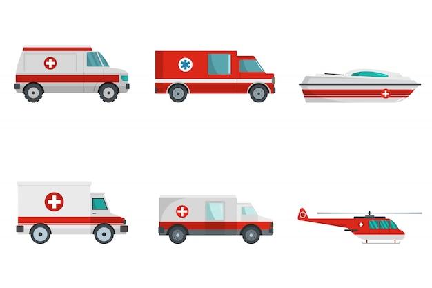 Ambulancia transporte banner concepto conjunto
