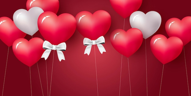 Ame el diseño de concepto de globo del corazón en fondo rojo