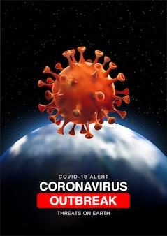 Amenazas de brote de coronavirus en la tierra con illustartion 3d de la tierra y la célula de coronavirus.
