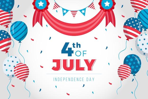 América 4 de julio día con globos de fondo
