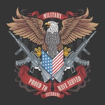 America eagle usa ilustración de bandera y arma para día de veteranos, día de memoria y día de independencia