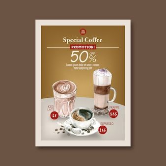 American, cappuccino, descuento de cartel de café espresso, plantilla, ilustración acuarela