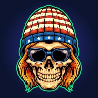 American hat skull rockstar ilustraciones vectoriales para su trabajo logotipo, camiseta de mercancía de mascota, pegatinas y diseños de etiquetas, póster, tarjetas de felicitación, publicidad de empresa comercial o marcas.