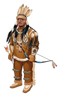 Americana nativa con el arco y la flecha del vector carácter aislado