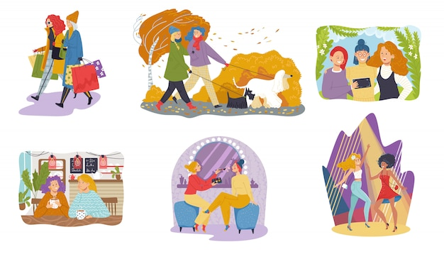 Amiga de ocio, las mujeres pasan tiempo juntas, conjunto de personajes de dibujos animados, ilustración