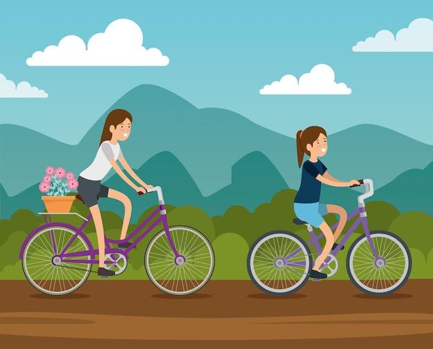 Amigas, andar en bicicleta