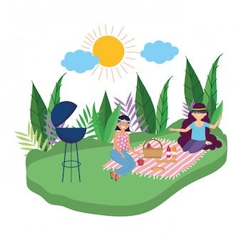 Amigas haciendo picnic