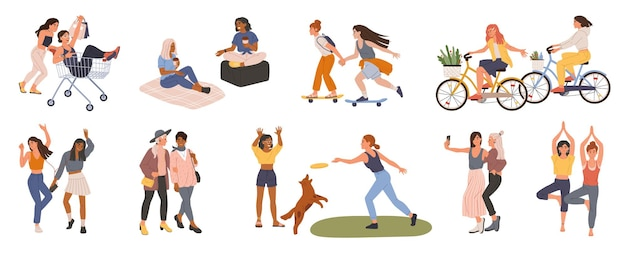 Amigas mujeres jóvenes pasan tiempo juntas bailando tomando selfie haciendo yoga conjunto de vectores de compras