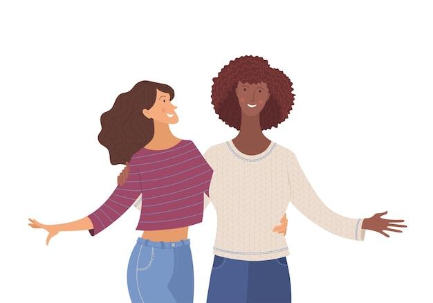 Amigas y niñas sonrientes ilustración vectorial plana